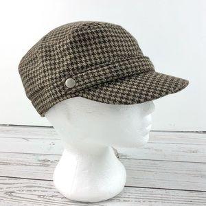 Brown houndstooth pageboy cap